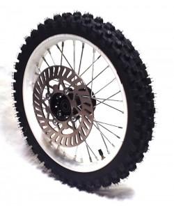 """Roue 14"""" avant axe 15mm renforcée complète Dirt bike"""
