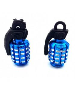 Bouchons de valve GRENADE x2 en aluminium bleu