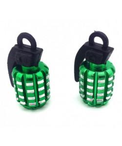 Bouchons de valve GRENADE x2 en aluminium vert