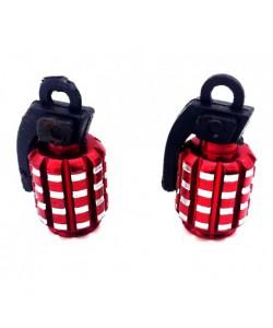 Bouchons de valve GRENADE x2 en aluminium rouge