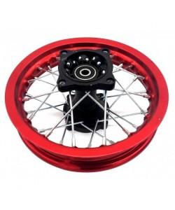 """Jante 10"""" arrière alu ROUGE renforcée axe 12mm dirt bike"""