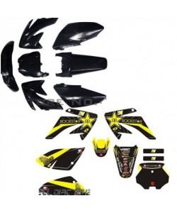 Kit déco + Kit plastique ROCKSTAR JAUNE CRF-70