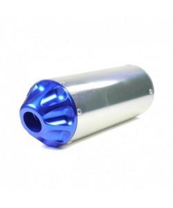 Cartouche échappement Dirt bike Silver CNC Bleu ø 28mm